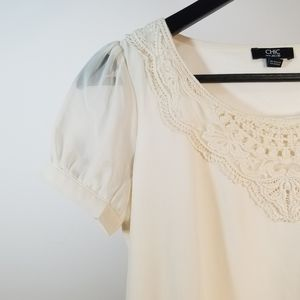 Jacob Dressy Lace Top Off-white Sleeve